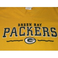 NFL Yellow Green Bay Packers Long Sleeve Shirt Tee Men's Size XL Football