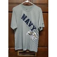 Nike Dri-Fit Gray US Navy Football T-Shirt Men's Size M Medium