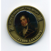 """James Lawrence War Of 1812 USS Chesapeake 1.75"""" Commemorative Challenge Coin"""