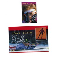 2 JOAN SMITH Olympic Biathlete Autographed Cards Biathlon Winter 1992 1994