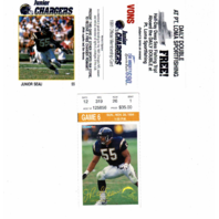 1991 Junior Chargers Card Junior Seau & Nov 1994 Game 6 Ticket Fleer Junior Seau