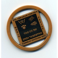 USS Abraham Lincoln CVN-72 Combat Systems 2012 Challenge Coin Copper Cut-Out