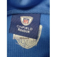 Reebok Onfield NFL Equipment Detroit Lions Blue 1/4 Zip Pullover Jacket Size 2XL