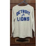 NFL Team Apparel Detroit Lions Gray L/S Sleep Shirt Women's Size M NWT
