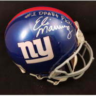 ELI MANNING Signed Full Size Pro Riddell Helmet #1 Draft Pick Mounted Memories