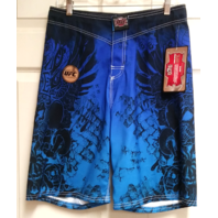 MMA Elite Blue & Black Athletic Workout Gym Shorts Mens Size S UFC NEW NWT