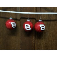 Lot of 3 Dale Earnhardt Jr. #8 Red Christmas Bulb Ornaments