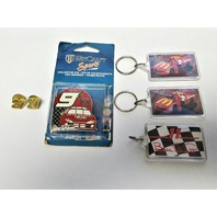 Lot Of Vintage NASCAR Bill Elliott Keychains And Lapel Tack Pins Bud McDonald's