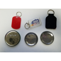 Lot Of 6 Vintage NASCAR Racing Themed Keychains & Button Pins
