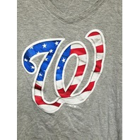 Fanatics Washington Nationals Gray V-Neck Cap Sleeve T-Shirt Tee Women's Size L