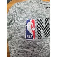 NBA Logo Black & White Striped T-Shirt Men's Size S Small Basketball