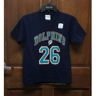 Gildan Navy Blue Miami Dolphins #26 Lamar Smith T-Shirt Youth Size L 14-16