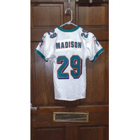 Puma White Miami Dolphins #29 Sam Madison Jersey Size S (8) Youth Small