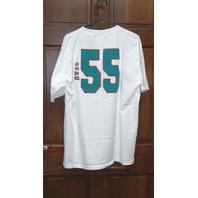 Vtg NFL Players White Miami Dolphins #55 Junior Seau T-Shirt Men's Size XL