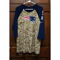 Nike Tee Athletic Cut New England Patriots Blue & Camo 3/4 Sleeve T-Shirt Sz XL