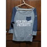 NFL Team Apparel New England Patriots Blue & Gray 3/4 Sleeve Shirt Womens Size S