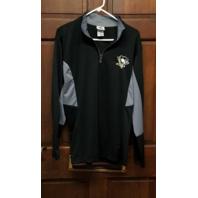Knights Apparel Black Pittsburgh Penguins Long Sleeve 1/4 Zip Shirt Mens Size M
