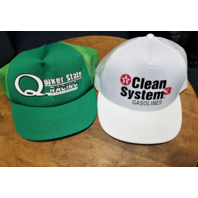 Lot 2 NASCAR Trucker Baseball Caps Quaker State Racing Texaco Clean System Gas