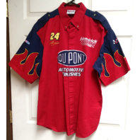 Chase Authentics NASCAR Jeff Gordon 24 Red Button Front Shirt DuPont Size L