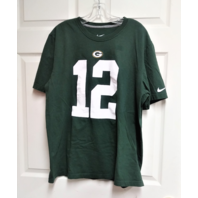 Green Bay Packers Aaron Rodgers #12 Green Jersey Style T-Shirt Size XL