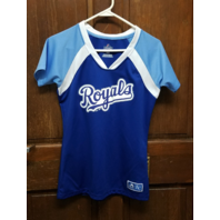Majestic Kansas City Royals Blue V-Neck Graphic T-Shirt Women's Size M