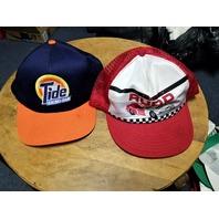 Lot Of 2 NASCAR Trucker Baseball Caps Hats Ricky Rudd Red & Tide Blue