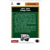 1991 Upper Deck Football Heroes Joe Montana 9 Card Set