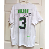 Gildan Seattle Seahawks White & Green Russell Wilson #3 T-Shirt Size XL NFL