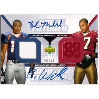 BRANDON MARSHALL WILLIAMS 2006 Upper Deck Rookie Futures Dual Jersey Auto RC /50