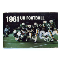 1981 UH Football University Of Hawaii Game Schedule Card