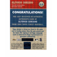 Alfonso Soriano 2005 Topps Finest Autograph Refractor #AS  auto