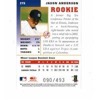 Jason Anderson 2003 Donruss Champions Rookie Autograph #275 RC auto 090/493