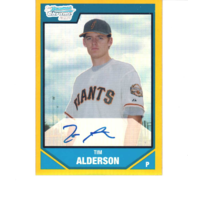 Tim Alderson 2007 Bowman Chrome Draft Picks Gold /50 Refractor Autograph BDPP113