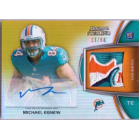 MICHAEL EGNEW 2012 Bowman Sterling Rookie Auto Logo Patch Gold Refractor 13/66