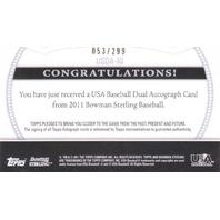 Cole Irvin Chase DeJong 2011 Bowman Sterling Dual USA Autograph /299 Auto #ID