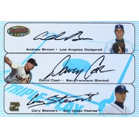 Andrew Brown David Cash Cory Stewart 2003 Bowman's Best Triple Play Autograph