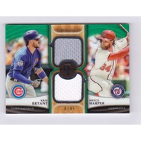 Kris Bryant / Bryce Harper 2018 Topps Tribute Dual Player Relics Green #DRBH /99