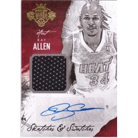Ray Allen 2014/15 Panini Court Kings Sketches & Swatches Autograph #19 Auto /25