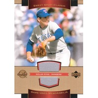Nolan Ryan 2003 Upper Deck Sweet Spot Classics Game Used Jersey Patch Rangers