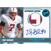 Toby Gerhart 2010 Press Pass Premium Edition Game Day Gear Jersey Autograph /25