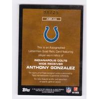 Anthony Gonzalez 2008 Topps Letterman Quad Autograph Jersey Relic auto /25 Colts