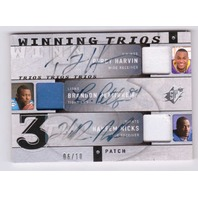 Percy Harvin Brandon Pettigrew Hakeem Nicks 2009 SPx Winning Trios Patch Auto/10  (x)