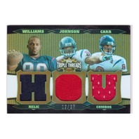 David Carr Andre Johnson Mario Williams 2006 Triple Threads Sepia #72 Relic /27