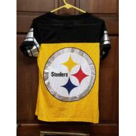 NFL Team Apparel Women's Pittsburgh Steelers Yellow Black Mesh Jersey Shirt Sz M
