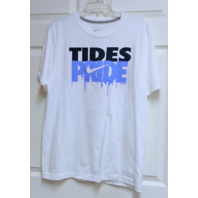 White Norfolk Tides Pride White Graphic T-Shirt Men's Size M Baseball