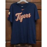 Nike Tee Athletic Cut Blue Detroit Tigers Graphic T-Shirt Men's Size XL Baseball