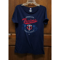 Majestic Minnesota Twins Loose Fit Navy Blue T-Shirt Womens Size XL MLB Baseball