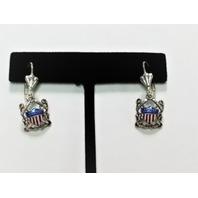 USN US Navy Shield & Crossed Anchors Dangle Earrings Silver Tone