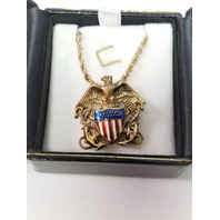 USN US Navy Pendant Necklace Eagle Shield & Crossed Anchors - Gold Tone
