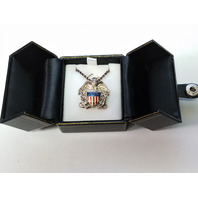 USN US Navy Pendant Necklace Eagle Shield & Crossed Anchors - Silver Tone